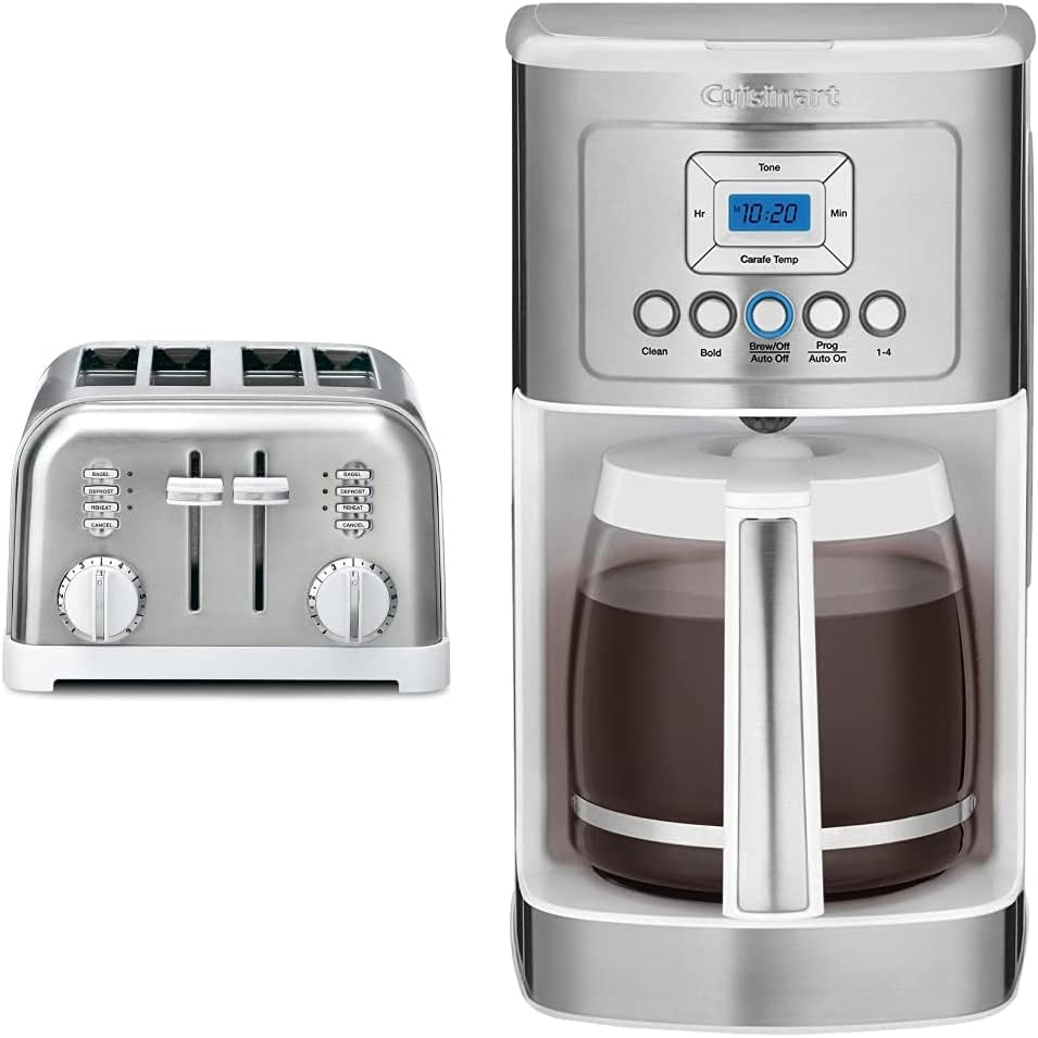 Cuisinart CPT-180WP1 Metal Classic 4-Slice toaster, White & DCC-3200W Perfectemp Coffee Maker, 14 Cup Progammable Coffeemaker with Glass Carafe, White