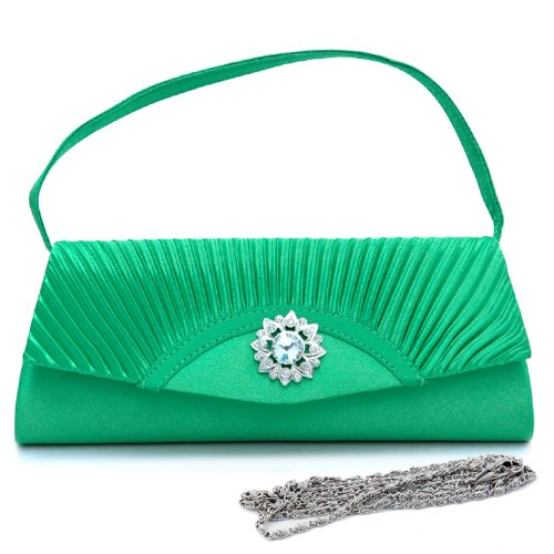 (Dasein Women's Pleated Flap Front Clutch Evening Purse Bag w/ Rhinestone -Green)