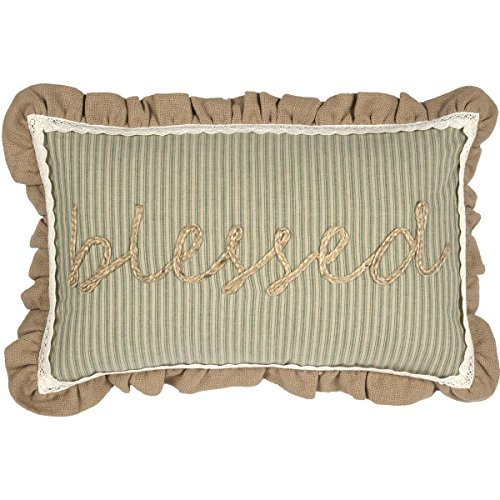 VHC Brands Sage Green Farmhouse Classic Country Decor Prairie Winds Blessed 14x22 Pillow