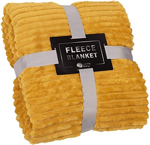 Fleece Blanket Queen Size – 90x90, Lightweight, Gold – Soft, Plush, Fluffy, Warm, Cozy – Perfect Full Size Throw for Couch, Bed, Sofa
