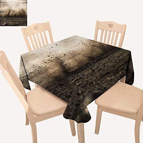 UHOO2018 Square/Rectangle Indoor and Outdoor Tablecloth Dirt Fly After Motocross Roar by Restaurant Party,52x 60 inch
