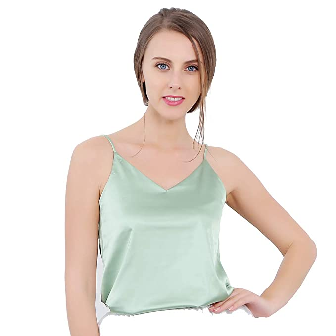 3da47c33a2dd18 Women's Sleeveless Shirt V-Neck Silk Camisole Stretch Loose Halter Solid  Top Shirt Light Green