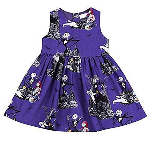 KIDDAD Toddler Baby Girls Halloween Ghost Skull Zombie Print Party Dress Sundress All Saints' Day Sundress Purple]()