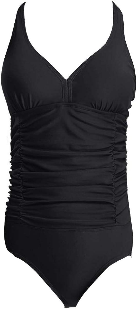 Ba/ñadores con Cuello en V Push up Ropa Cintura Alta Trajes de ba/ño de una Pieza para Mujer Negro S EU 34-36