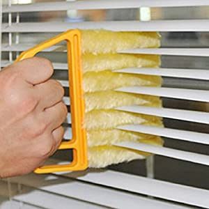 Blind Cleaner Brush ,  Blinds Dust Shutters ,  Mini Washable & Removable Window Air Conditioner Duster With 7 Slat Handheld Household Kitchen Cleaning Tools ,  For Awnings , Siding , Vinyl , Car , Fan