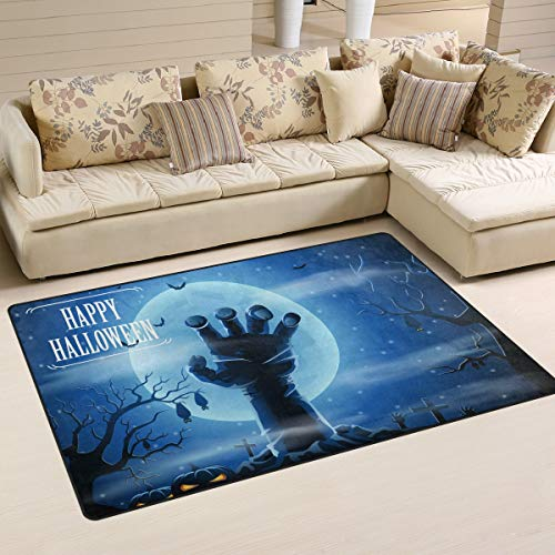 (Area Rugs Carpet Doormats 31x20 Inches Full Moon Night Halloween Horror Hand for Living Room Bedroom Decorative Non-Slip Floor)