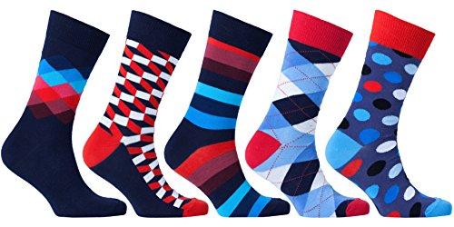 Socks n Socks-Men's 5-pair Luxury Fun Cool Cotton Colorful Dress Socks Gift Box …