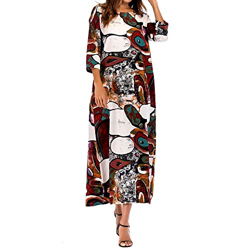 POTO Women Dresses Plus Size,3/4 Sleeve Floral Boho Pockets Long Maxi Dress Evening Party Dress Beach Dress Sundress (2XL, Multicolor) by POTO