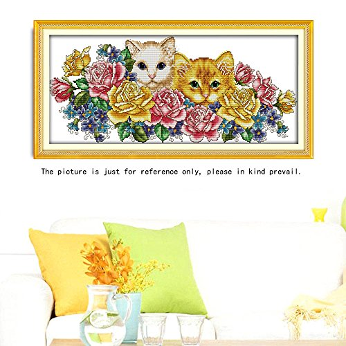 DIY Handmade Needlework Counted Precise Printed Cross Stitch Set Embroidery Kit 11CT Cats in Flowers Pattern Home Decor 68X35 cm