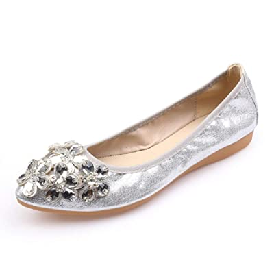 Fnnetiana Women Foldable Comfort Ballet Flats Classic Rhinestone Soft Sole Slip on Dress Flat Shoes | Flats