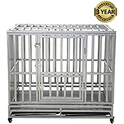 LUCKUP Heavy Duty Dog Cage Strong Metal Kennel and Crate for Medium and Large Dogs, Pet Playpen with Four Wheels,Easy to Install,42 inch,Silver