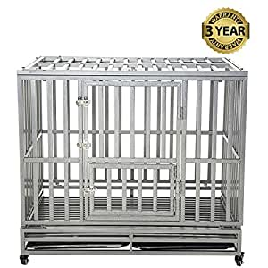 LUCKUP Heavy Duty Dog Cage Strong Metal Kennel and Crate for Medium and Large Dogs, Pet Playpen with Four Wheels,Easy to Install,42 inch,Silver …