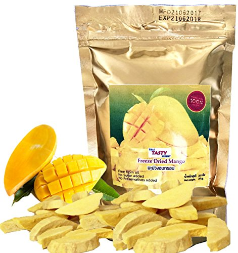 Mango Vacuum Freeze Dried Fresh , 100% Natural and Real Fruit 35 g. or 1.23 Oz (Pack of 2) Thai Tasty Yummy. (Costco Fruit Gift Baskets)