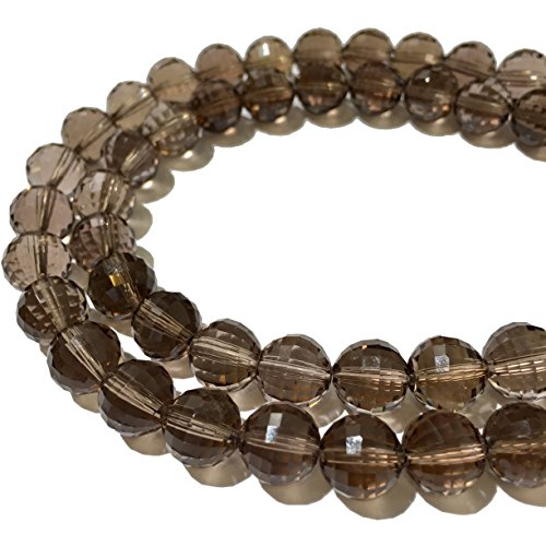 [ABCgems] Rare Brazilian Smoky Quartz (Micro Precision Cut- 128 Faces- Exceptional Clarity) Tiny 6mm Faceted Round Beads for Jewelry Making ()