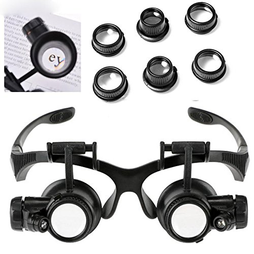Mewalker Jewelry Magnifying Loupe Eyeglass Repair Tools for Miniature Engraving with 4 Pairs Magnifier Lens 10 X 15X 20 X 25X ()