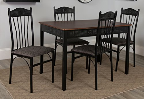 Flash Furniture Madison Square 5 Piece Dinette Set with Walnut Finish and Black Pin Dot Padded Fabric Chairs - Walnut Finish Dinette