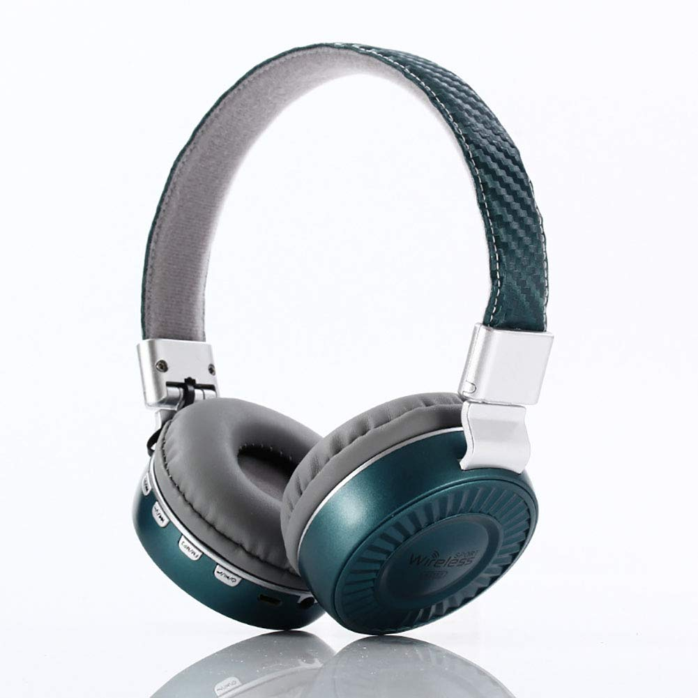 Jrjq Stereo Surround Sound Wireless Over Ear Headphone, Bluetooth Noise Cancelling Deep Bass Headset Wireless and Wired Mode Headsets-Green