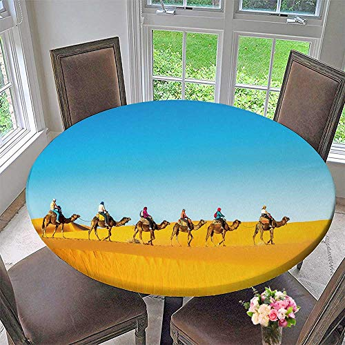(PINAFORE HOME Modern Simple Round Tablecloth Camel Caravan go Through The Sand Dunes in The Sahara Desert Decoration Washable 63