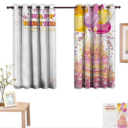 Kids Birthday Customized Curtains Celebration Girl Themed Party Cake Candles Balloons Hearts Image Print 55
