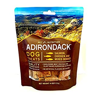 Adirondack Pet Food Jerky Dog Treats Made in USA - Slow Cooked, Delicious, Healthy Dog Jerky Treats – Salmon, Chicken, & Mixed Berries - 4 oz. resealable bag, 22573