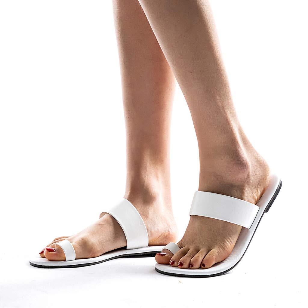 Schuhe Kreuzgurt R/ömisch Sandalen Zehentrenner Offene Flache Badesandalette Damen Strandschuhe PU Leder Pantoletten Flach Flip Flops Peep-Toe Outdoor Shoes