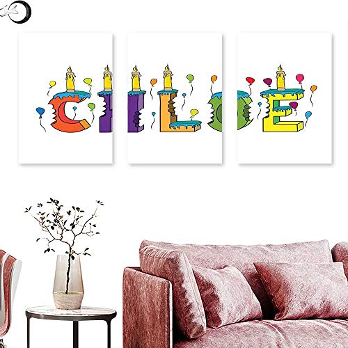 - J Chief Sky Chloe Wall hangings Lettering with Cheerful Bitten Cake Candles Girly Birthday Party Design First Name Triptych Art Multicolor Triptych Art Canvas W 20