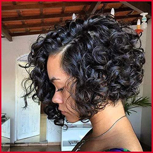 (Echo Wig Synthetic Lace Front Wig Short Loose Wavy Wigs Big Curls Wigs for Black Women African American Synthetic Hair Wig)