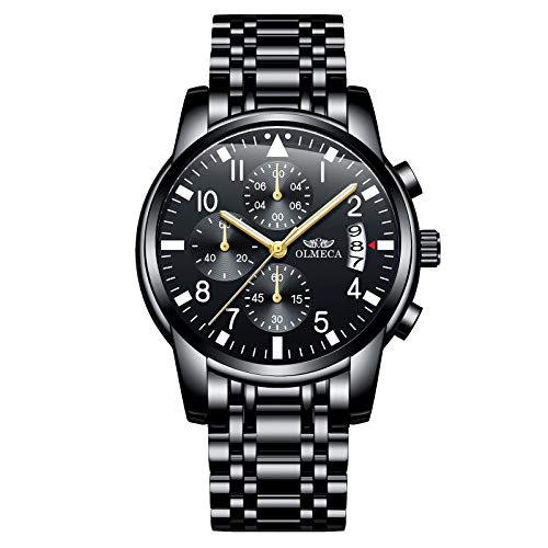 OLMECA Men's Watch Fashion Luxury Wrist Watches Analog Quartz Waterproof Chronograph Watch for Men Stainless Steel Strap Clock