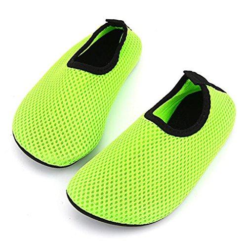 Bumud Kids Sneldrogend Zwemwater Schoenen Barefoot Aqua Sokken Schoenen Voor Strandbad Surfen Yoga Groen