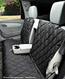 4Knines Dog Seat Cover Without Hammock for Fold-Down Rear Bench Seat 60/40 Split and Middle Seat Belt Capable - Black Extra Large - for Full Size Trucks and Large SUVs - USA Based Company