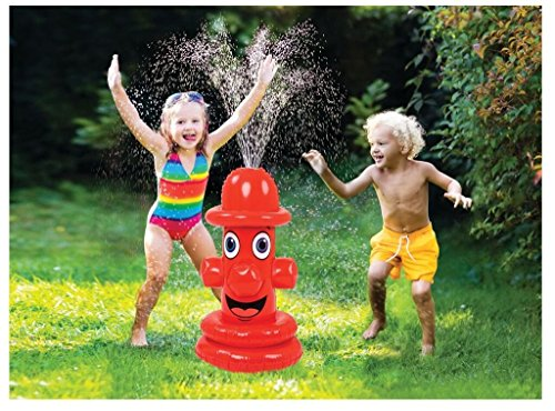(FOTE HOME GOODS Water Sprinkler Lawn Toy for Kids - Inflatable Fire Hydrant Spray Toy Connects to Garden Hose for Outdoor Family Backyard Summer Fun and Splashing - Sprays Over 15 Feet High)