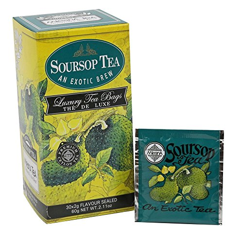 Mlesna Premium Soursop (Graviola) Pure Ozone Friendly Ceylon Tea – Aromatic Fruity Tea 30 Individual Foil Wrapped Envelopes