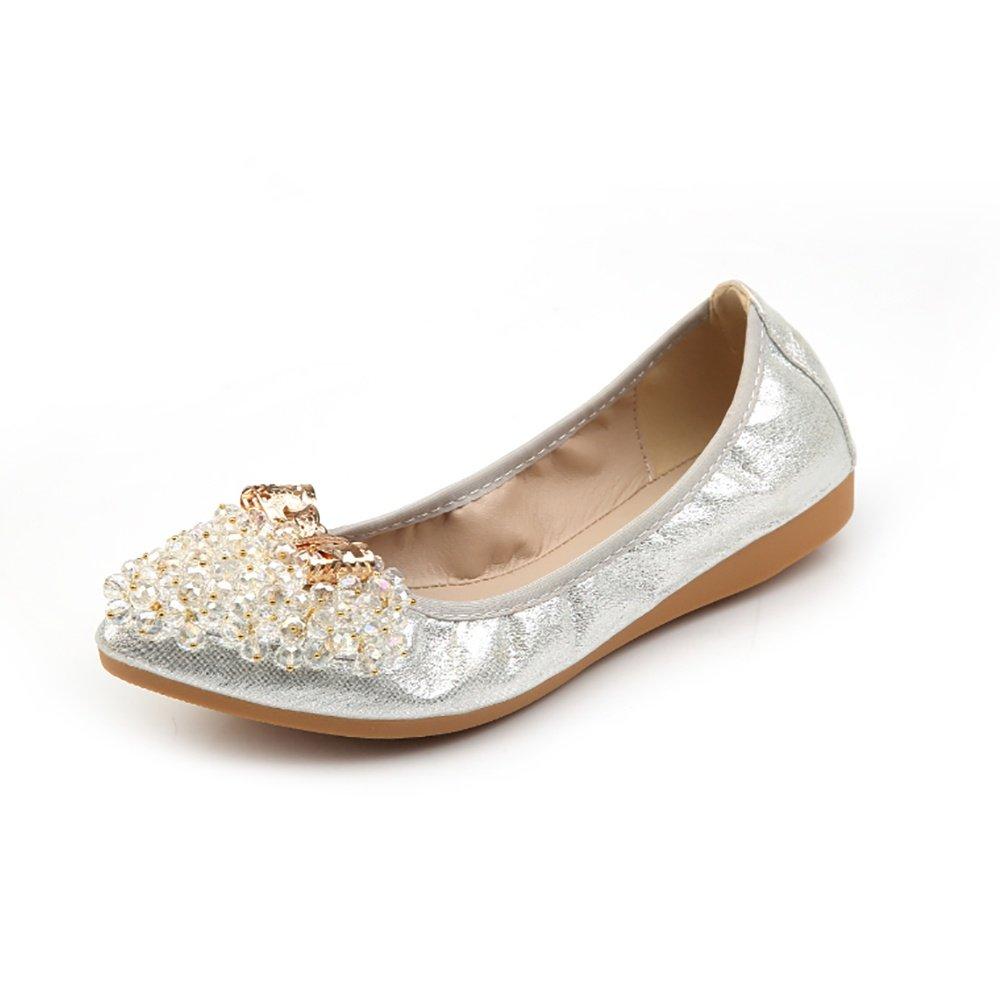 Meeshine Women's Wedding Flats Rhinestone Slip On Foldable Ballet Shoes Silver-03 8 US