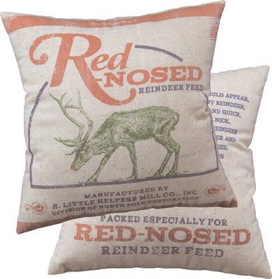 Primitives By Kathy Red-Nosed Reindeer Feed Pillow