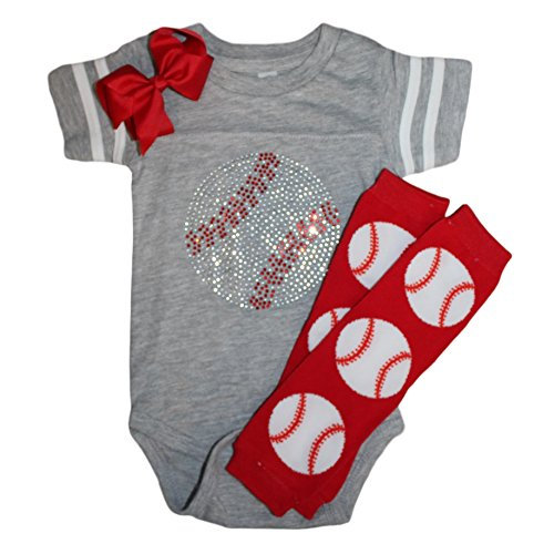 FanGarb Rhinestone Baby Girls Baseball Grey Team Color Sport Outfit (6 Months, Prime Grey)