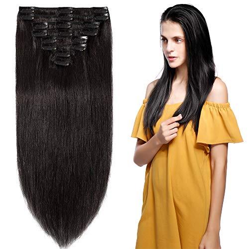 Clip in Hair Extensions Human Hair Full Head 8 Pieces 18 Clips 100% Real Silky Human Hair 22-110g Natural Black (#1B)