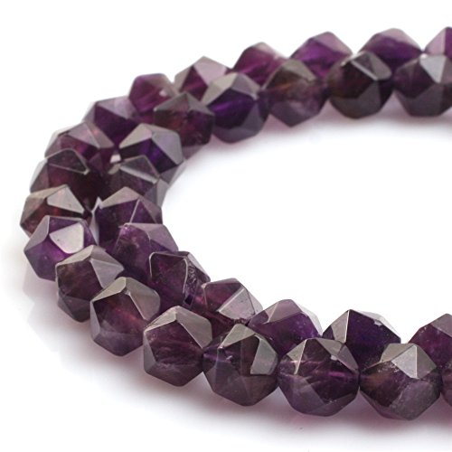 (JOE FOREMAN 8mm Amethyst Semi Precious Gemstone Faceted Loose Beads for Jewelry Making DIY Handmade Craft Supplies 15