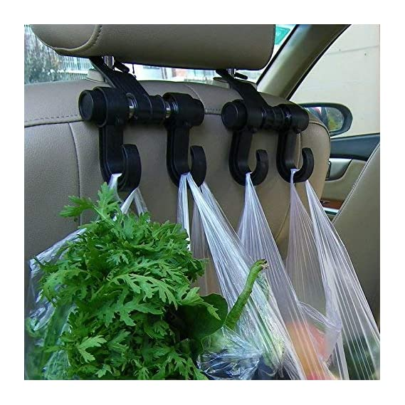 Universal Car Back Seat Headrest Hanger Holder with Hooks for Bag Purse Cloth Grocery
