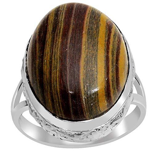 (Orchid Jewelry 925 Sterling Silver 16 8/9 Carat Zebra Jasper Ring )
