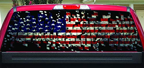 Lets Print Big Shattered American Flag Rear Window Graphic (Laminated, 30