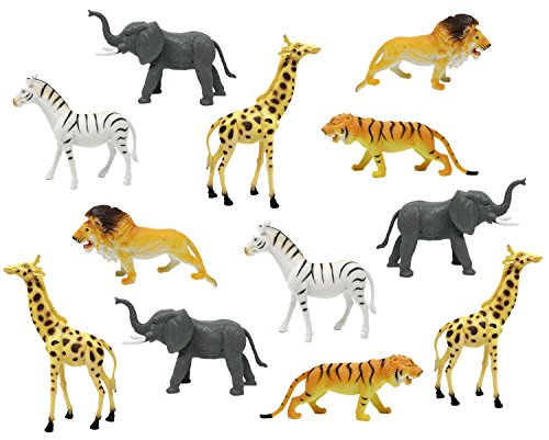"Boley 12pc Jumbo Safari Animals - 9"" Assorted Jungle Animals, Educational Toy for Boy Toddlers that make great Party Packs and Party Favors"
