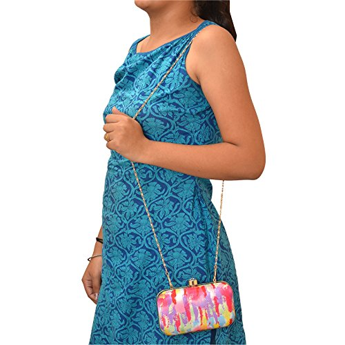 Zephyrr Clutch - Cartera de mano para mujer Blue & Beige Multicolor