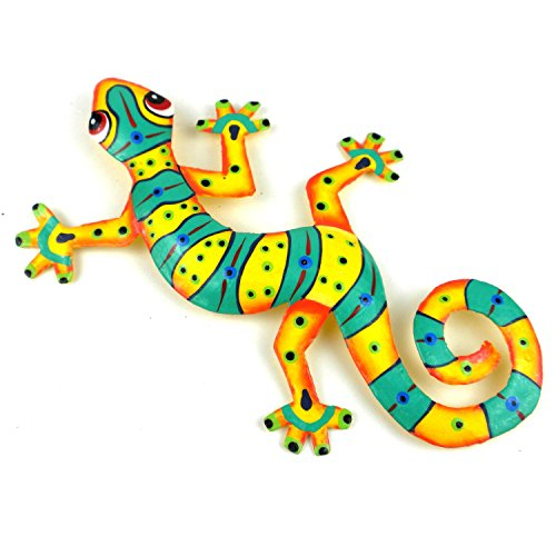 Eight Inch Green Stripe Metal Gecko