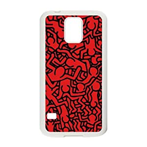 Keith Haring caso N4Q74E6OL funda Samsung Galaxy S5 funda 053NE8 blanco