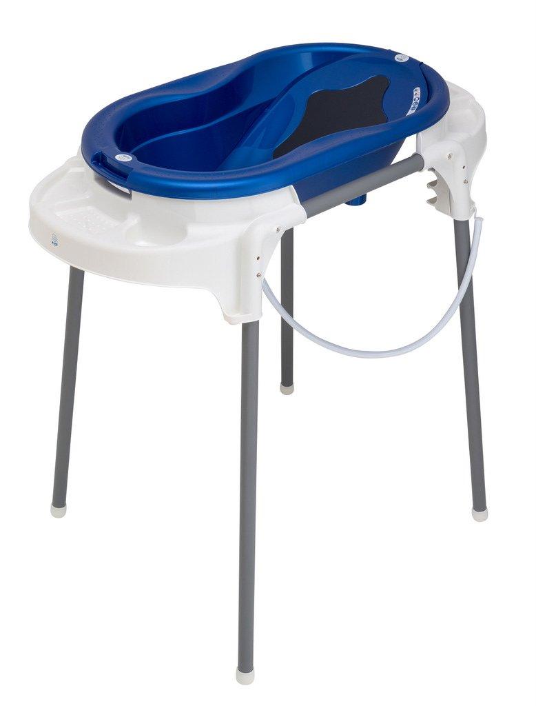 Rotho Babydesign Badeset mit Wanne und höhenverstellbarem Funktionsständer, 0-12 Monate, Royal blue (Dunkelblau), TOP Badestation, 21042000101 21042 0265 01