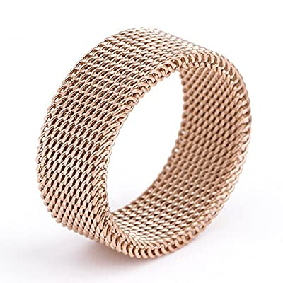 18K-rose-gold-stainless-steel Circle Woven Mesh Rings For Women Men Jewelry Wedding Rings Size 6 to 10