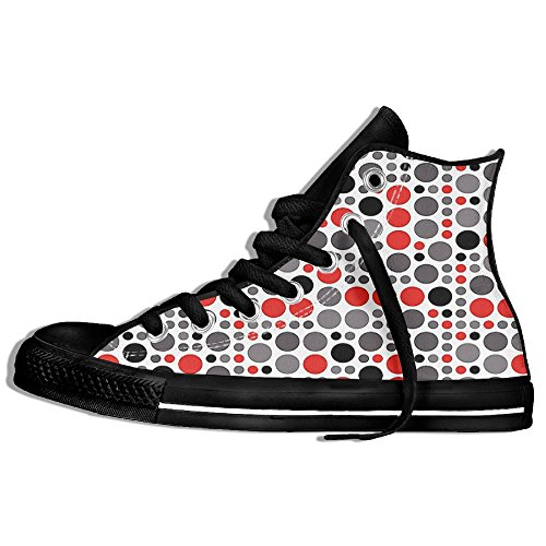 Mkajkkok Big Colorful Polka Dots Circular Geometric Rounds Retro Background Ladies Men's Fashionable High-heeled Lace Canvas - Jordan Shoes Eastbay