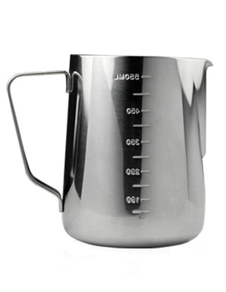 iecool Thick Stainless Steel Metal Sharp Beak Measuring Cup Milk Foam Pot Silver 18oz
