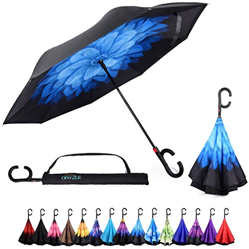 Dryzle Reverse Inverted Auto Open Umbrella by Upside Down Windproof Umbrellas for Women and Men (15 Designs) (Umbrella Plastic Cover)