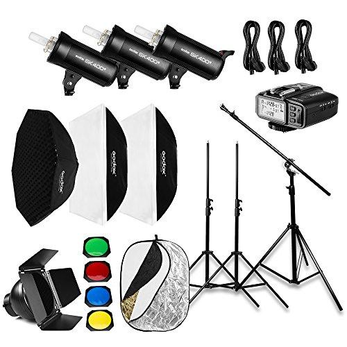 Godox 1200W 3x SK400II Photo Studio Flash Lighting,X1T-S Trigger,Softbox,Light Stand, Studio Boom Arm Top Light Stand (110v) by Godox